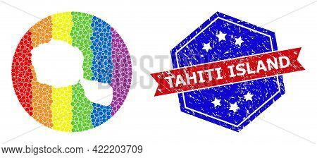 Pixel Rainbow Gradiented Map Of Tahiti Island Collage Designed With Circle And Subtracted Shape, And