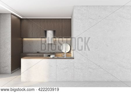 Modern Concrete Kitchen Interior With Empty Copyspace On Wall And Sunlight. Mock Up, 3d Rendering
