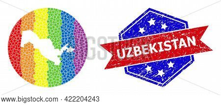 Pixelated Spectrum Map Of Uzbekistan Collage Created With Circle And Stencil, And Distress Badge. Lg