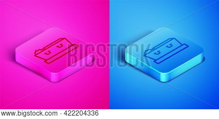 Isometric Line Open Coffin With Dead Deceased Body Icon Isolated On Pink And Blue Background. Funera