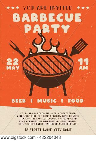 Barbecue Party Flyer. Bbq Poster Template Design. Summer Barbeque Editable Card. Stock Vector Illust