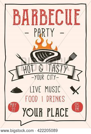 Retro Barbecue Party Flyer. Vintage Bbq Poster Template Design. Summer Barbeque Editable Card. Stock