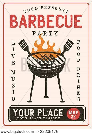 Retro Barbecue Party Flyer. Bbq Poster Template Design. Summer Barbeque Editable Card. Stock Vector