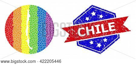 Pixel Spectrum Map Of Chile Mosaic Designed With Circle And Subtracted Space, And Grunge Seal Stamp.