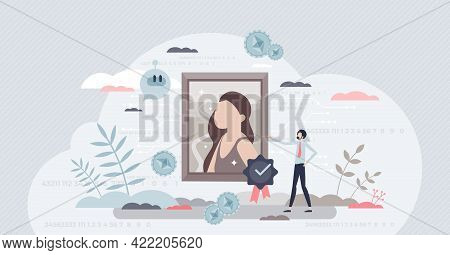 Nft As Non-fungible Token For Digital Blockchain Unit Tiny Person Concept. Authentic Artwork Ownersh