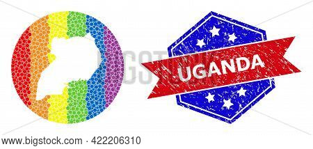 Dotted Spectral Map Of Uganda Mosaic Created With Circle And Stencil, And Grunge Seal Stamp. Lgbt Sp