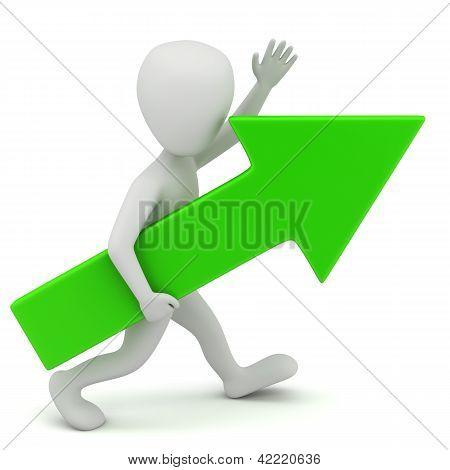 3D Small Person-green Arrow.