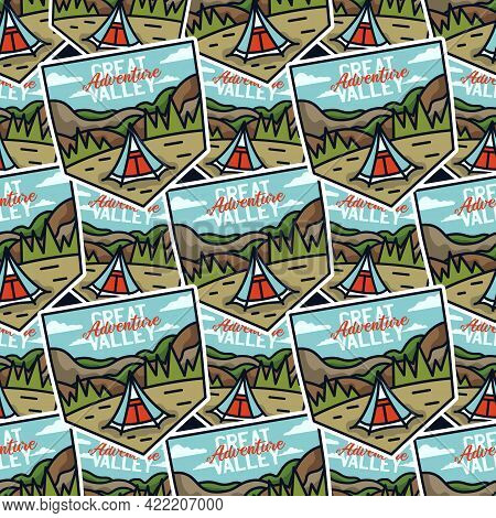 Camping Adventure Badges Pattern. Outdoor Adventure Hiking Seamless Background With Tent, Mountains,