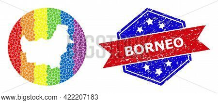 Pixelated Rainbow Gradiented Map Of Borneo Island Collage Designed With Circle And Subtracted Space,
