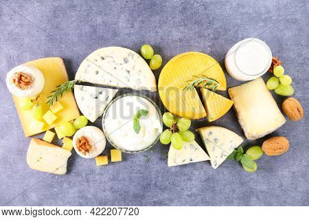 dairy product selection- top view