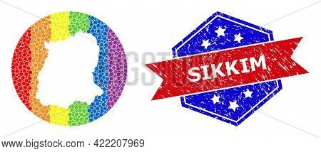 Dot Spectrum Map Of Sikkim State Mosaic Created With Circle And Hole, And Scratched Stamp. Lgbtq Spe