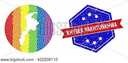 Dot Spectral Map Of Khyber Pakhtunkhwa Province Mosaic Formed With Circle And Hole, And Scratched St