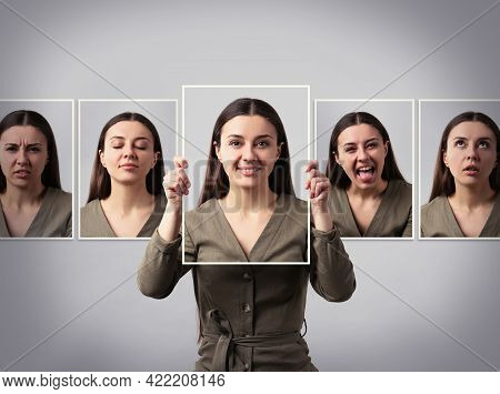 Woman With Personality Disorder, Multiple Exposure. Collage