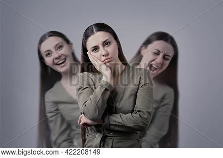 Woman With Personality Disorder On Light Background, Multiple Exposure
