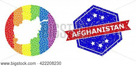 Pixelated Spectrum Map Of Afghanistan Mosaic Designed With Circle And Carved Shape, And Grunge Seal