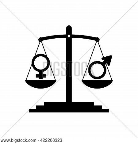 Gender Equality Concept. The Silhouette Of The Weight Scale With Gender Signs Shows Equal Weight. Ve