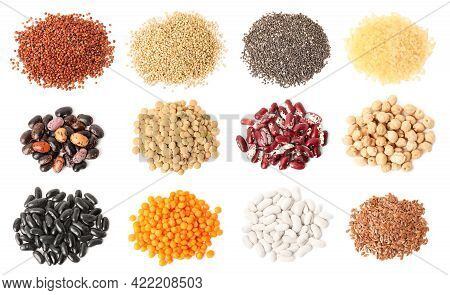 Set With Different Legumes, Grains And Seeds On White Background, Top View. Vegan Diet