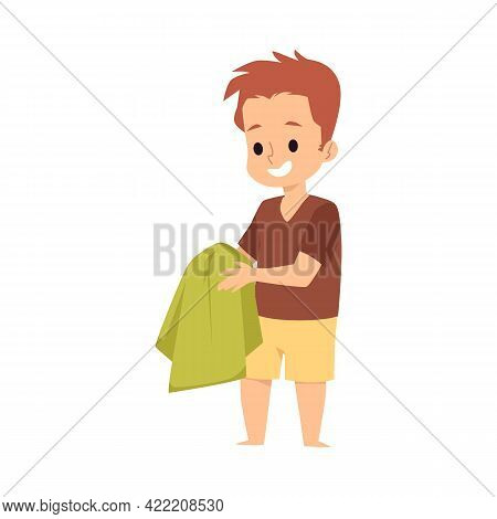 Smiling Kid Boy Wipe Clean Hands With Towel A Flat Cartoon Vector Illustration