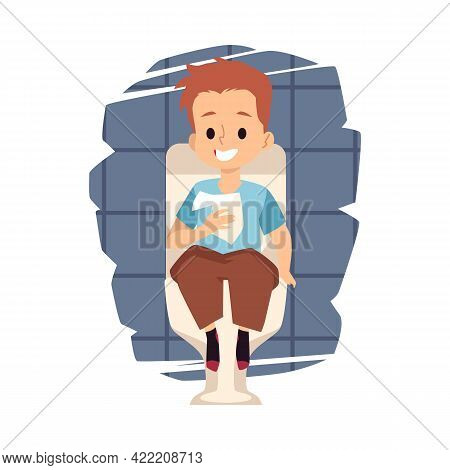 Child Boy Sitting On The Toilet In Lavatory Flat Vector Illustration Isolated.