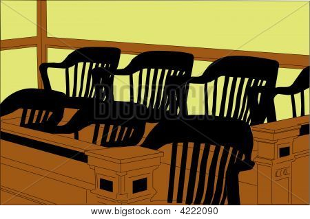 Courtroom Jury Seating Area With Chairs