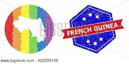 Pixelated Bright Spectral Map Of French Guinea Mosaic Created With Circle And Subtracted Shape, And