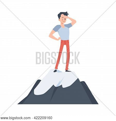 Man Standing On Mountain And Looking Forward, Flat Vector Illustration Isolated.