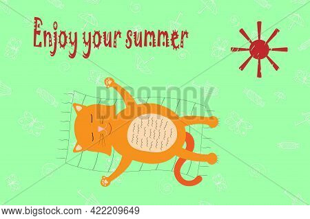 Vector Illustration Of A Lazy Cat Enjoing Summer