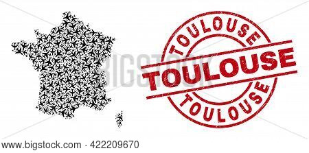 Toulouse Textured Stamp, And France Map Collage Of Aeroplane Items. Mosaic France Map Created Of Avi