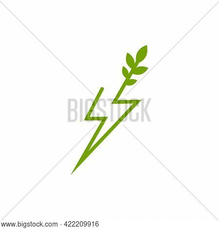 Green Lightning Bolt Simple Flat Icon. Storm Or Thunder And Lightning Strike Sign Isolated On White.