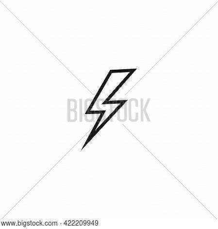 Black Lightning Bolt Simple Flat Icon. Storm Or Thunder And Lightning Strike Sign Isolated On White.