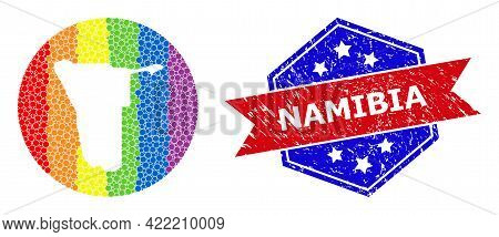 Dot Spectrum Map Of Namibia Mosaic Formed With Circle And Cut Out Shape, And Distress Seal Stamp. Lg