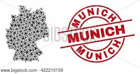 Munich Rubber Seal Stamp, And Germany Map Collage Of Aviation Items. Mosaic Germany Map Constructed