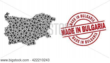 Made In Bulgaria Grunge Seal Stamp, And Bulgaria Map Mosaic Of Aviation Items. Mosaic Bulgaria Map C