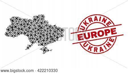 Ukraine Europe Rubber Stamp, And Ukraine Map Collage Of Aviation Items. Mosaic Ukraine Map Construct