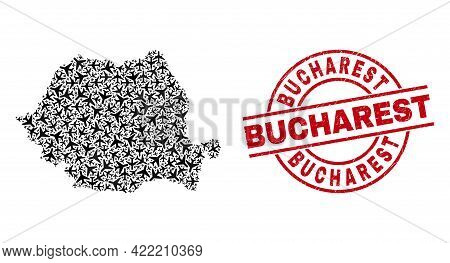 Bucharest Rubber Badge, And Romania Map Mosaic Of Aeroplane Elements. Collage Romania Map Designed O