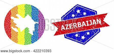 Dotted Spectrum Map Of Azerbaijan Collage Created With Circle And Subtracted Shape, And Distress Sea