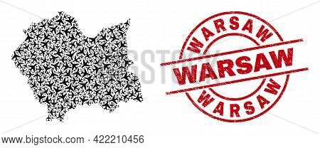 Warsaw Distress Seal, And Lesser Poland Voivodeship Map Mosaic Of Air Force Items. Collage Lesser Po