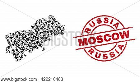 Russia Moscow Rubber Seal Stamp, And Shikotan Island Map Collage Of Aeroplane Elements. Mosaic Shiko