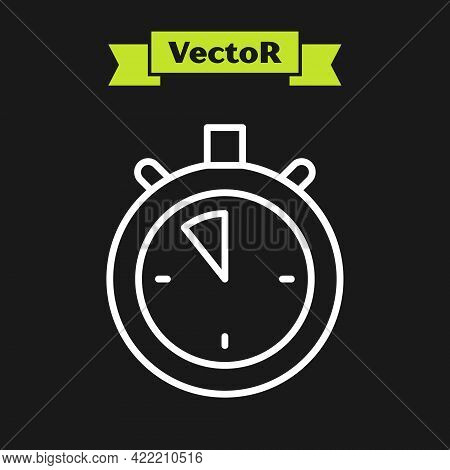 White Line Stopwatch Icon Isolated On Black Background. Time Timer Sign. Chronometer Sign. Vector