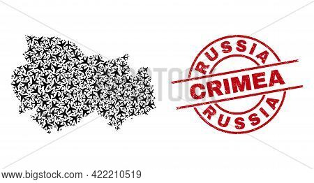 Russia Crimea Scratched Seal Stamp, And Novosibirsk Region Map Collage Of Jet Vehicle Items. Mosaic