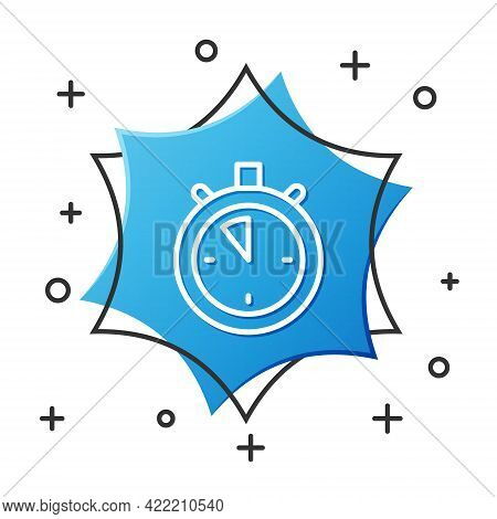 White Line Stopwatch Icon Isolated On White Background. Time Timer Sign. Chronometer Sign. Blue Hexa