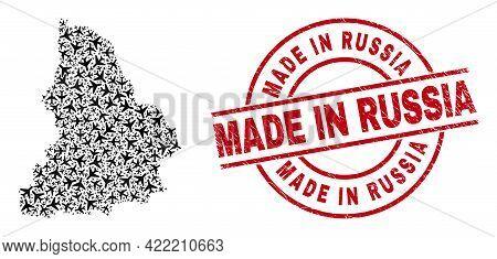 Made In Russia Textured Seal, And Sverdlovsk Region Map Mosaic Of Air Plane Elements. Mosaic Sverdlo