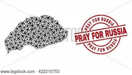 Pray For Russia Textured Badge, And Wrangel Island Map Mosaic Of Air Plane Items. Mosaic Wrangel Isl