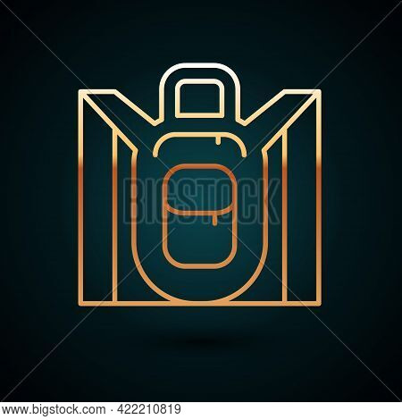 Gold Line Hiking Backpack Icon Isolated On Dark Blue Background. Camping And Mountain Exploring Back