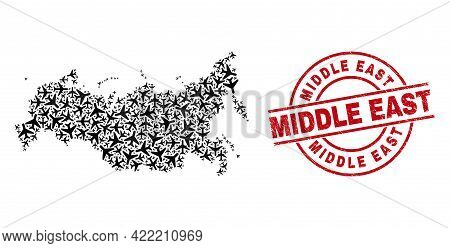 Middle East Grunged Seal Stamp, And Russia Map Collage Of Aeroplane Items. Collage Russia Map Design