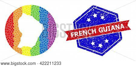 Pixelated Spectral Map Of French Guiana Collage Created With Circle And Hole, And Scratched Stamp. L
