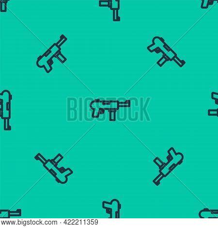Blue Line Submachine Gun M3, Grease Gun Icon Isolated Seamless Pattern On Green Background. Vector