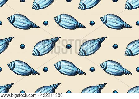 Hand Drawn Watercolor Seamless Pattern With Seashells