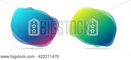 Set Line Military Rank Icon Isolated On White Background. Military Badge Sign. Abstract Banner With