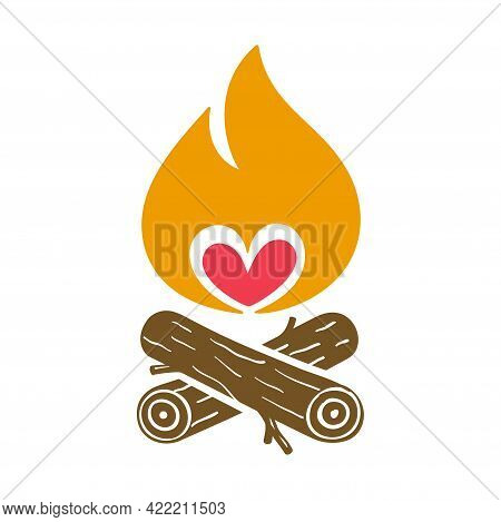 Campfire Vector Icon With A Red Heart.
